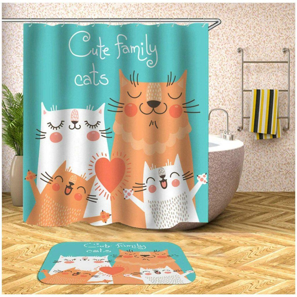 cortinas de baño con gatos