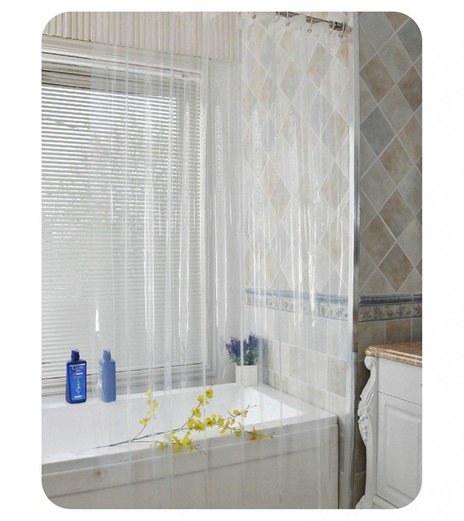 tipos de cortinas transparentes para baños