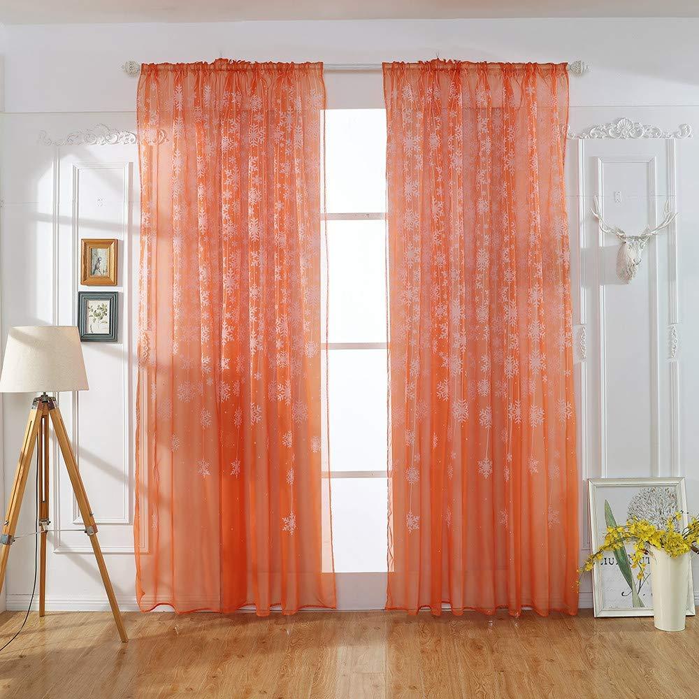 decoración con cortinas naranjas